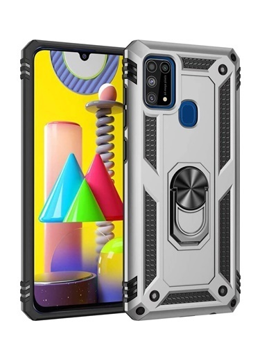 MobilCadde MobilCadde Eiroo Magnet Ring Samsung Galaxy M31 Ultra Koruma Silver Kılıf Renkli